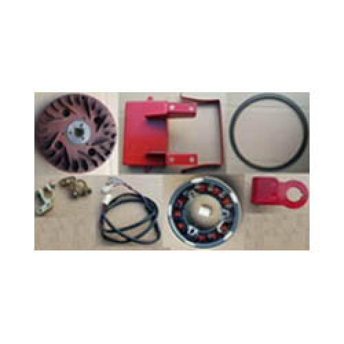 Комплект электростартера 178F, 186F (маховик, венец маховика, статор + ротор, крепление и клеммы аккумулятора, электропроводка)